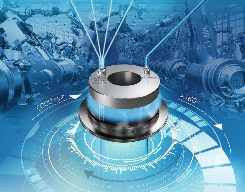 Die Drehübertrager von Spinner ermöglichen die störungsfreie Echtzeitdatenübertragung bei 100 Mbit/s für verschiedene, auf Ethernet basierende, Bus-Protokolle. Bild: Spinner