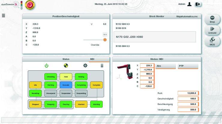 Die mit »mapp View« erstellte Bedienerschnittstelle für den Roboter-Showcase basiert auf moderner Web-Technik und lässt sich mit jedem browserfähigen Gerät aufrufen. Bild: B&R