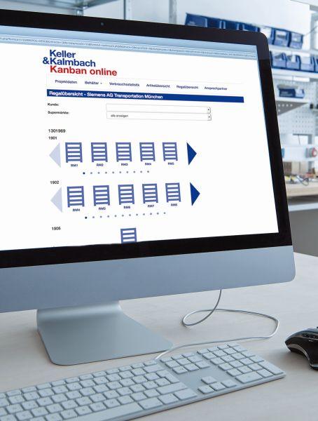 Die neu geschaffene Regalübersicht der Online-Plattform »Kanban Online«. Bild: Keller & Kalmbach