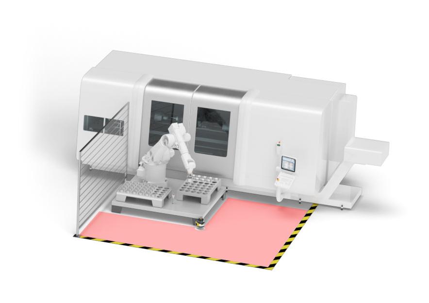 icherheitstechnische Überwachung von Roboterarbeitsbereichen an Bearbeitungszentren. Bild: Leuze electronic