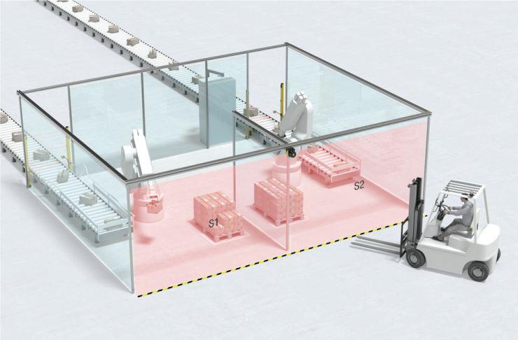 Komplette Sicherung von zwei Stationen mit nur einem Sicherheits-Laserscanner. Bild: Leuze electronic