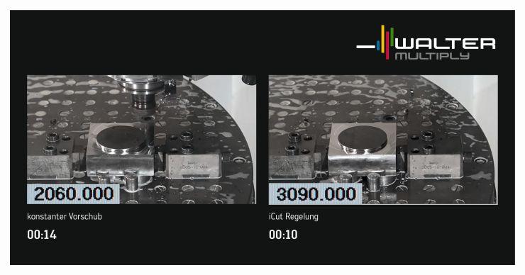 »Comara iCut« passt den Vorschub dynamisch den Schnittbedingungen an. Pro Werkstück lässt sich sowohl die Fertigungszeit reduzieren als auch die Prozesssicherheit erhöhen. Bild: Walter