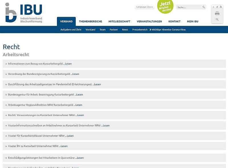 Die Website bietet Corona-relevante Informationen für Blech umformende Unternehmen (Grafik: IBU).