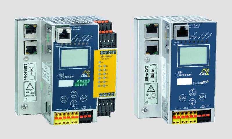 ASi-5/ASi-3 Felbus Gateways mit und ohne Sicherheitstechnik: aktuell verfügbar in diversen Varianten, u.a. für Profinet, Profisafe über Porfinet, Ethernet/IP, CIP Safety über Ethernet/IP, Ethercat, Safety over Ethercat, Sercos und CIP Safety über Sercos (Bild: Bihl+Wiedemann).