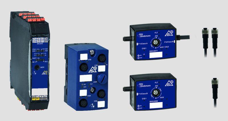 ASi-5 Slave / IO-Link Master Module: aktuell verfügbar (v. l. n. r.) mit 4 IO-Link-Master-Ports in IP20 und IP67 sowie als aktiver Verteiler ASi-5 / IO-Link Master mit 2 IO-Link-Master-Ports (oben) und 1 Master Port (unten; Bild: Bihl+Wiedemann).