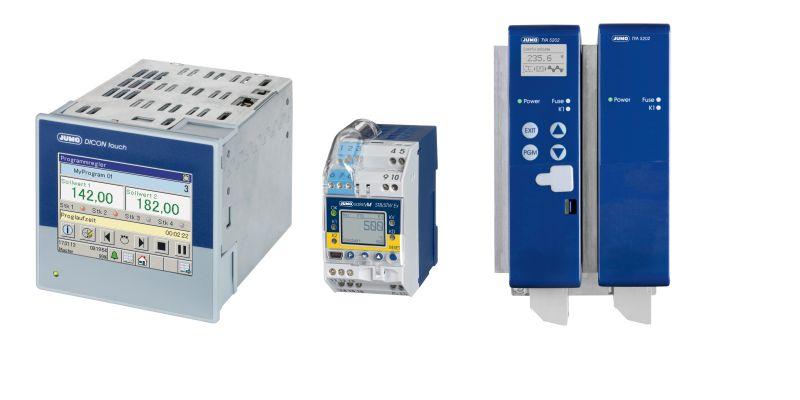 Produkte für die Steuerung von Warmhalteöfen: links der zweikanalige Prozess- und Programmregler »Dicon touch«, in der Mitte der Sicherheitstemperaturbegrenzer »safetyM« und rechts der Thyristor-Leistungssteller (Bilder: Jumo).