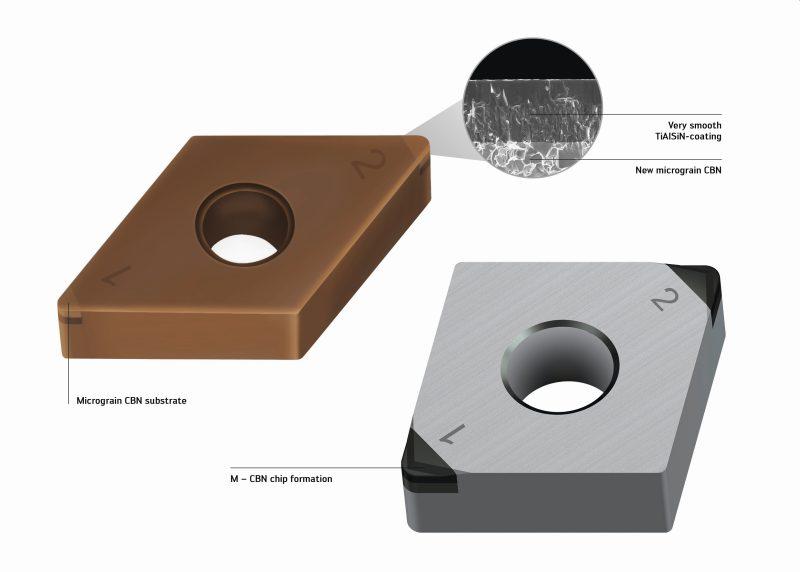 Die neue Beschichtung aus TiAlSiN sowie eine neue Werkzeuggeometrie erhöhen die Leistungsfähigkeit von CBN-Wendeschneidplatten (Bild: Walter AG).