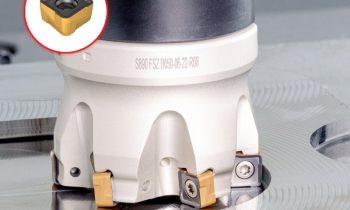 Die gesinterte Wendeschneidplatte besitzt acht Schneiden und einen Anstellwinkel von 90° für gutes Handling bei Schnitttiefen bis 5 mm (Bild: Iscar).
