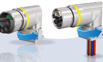 Hybrid-Steckverbinder B23 Flansch gewinkelt, drehbar für Servoantriebe mit einer Leistung von über 20 kW (Bild: Conec).